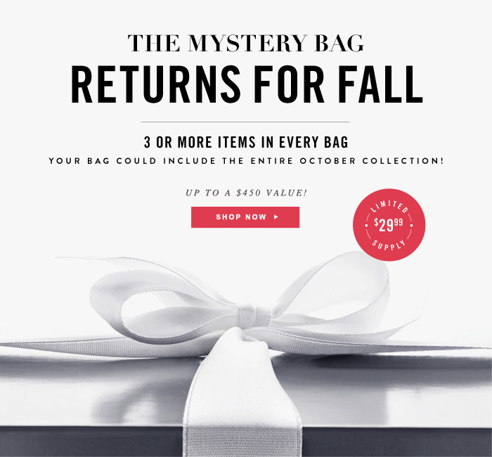 The Mystery Bag Returns for Fall - 3 Or More Items In Every Bag