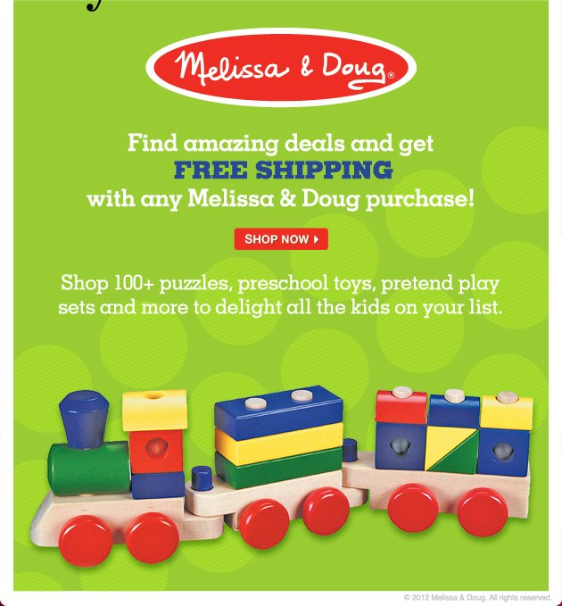 Find amazing deals and get FREE SHIPPING with any Melissa & Doug purchase! Shop 100+ puzzles, preschool toys, pretend play sets and more to delight all the kids on your list.