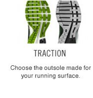 TRACTION | Choose the outsole made for your running surface.