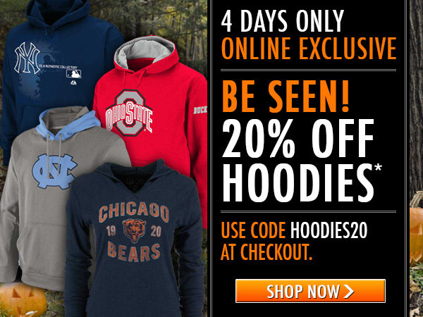 Be seen! 20% off hoodies - 4 days only.