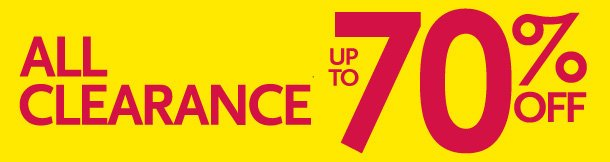 All Clearance Up to 70% Off!