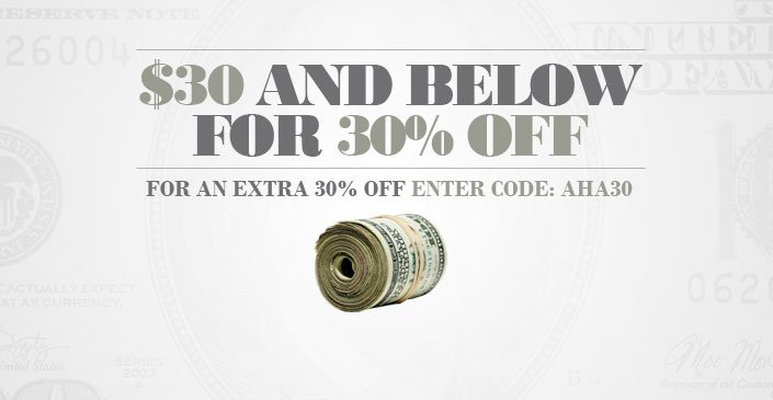 30 and Below for 30% Off
