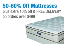 50-60% Off Mattresses | Plus extra 10% off & FREE DELIVERY on orders over $499