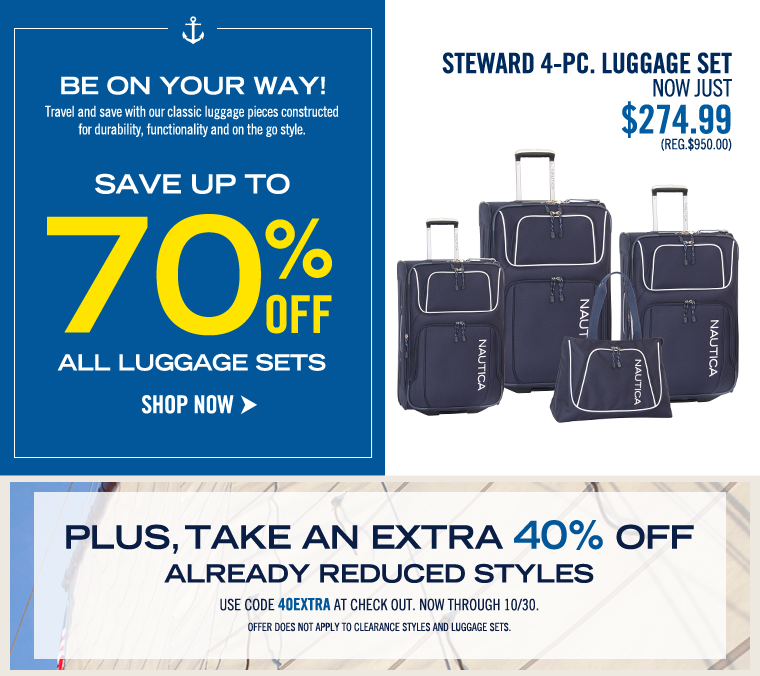Be on your way! Save up to 70% off All Luggage Sets!