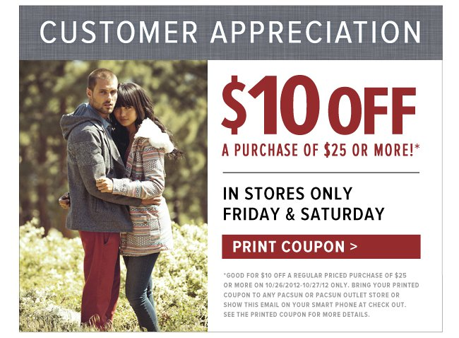 Pacsun in store coupons