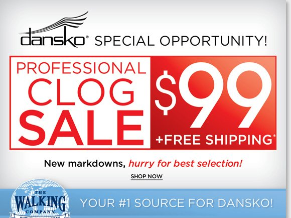 Find NEW markdowns and save on Dansko Professional Clogs, select styles now $99 and enjoy FREE Shipping*! Hurry for the best selection. Plus, our Fall Shoe Sale continues. Save on 100's of great styles from your favorite brands like Sierra West, Thad Stuart, MBT and more! Shop now at The Walking Company.