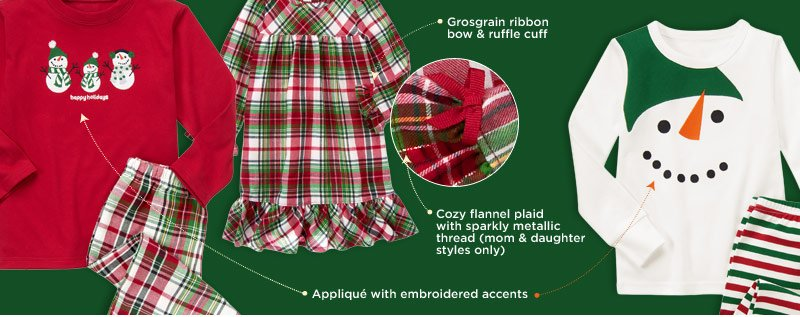 Grosgrain ribbon bow & ruffle cuff. Cozy flannel plaid with sparkly metallic thread (mom & daughter styles only). Applique with embroidered accents