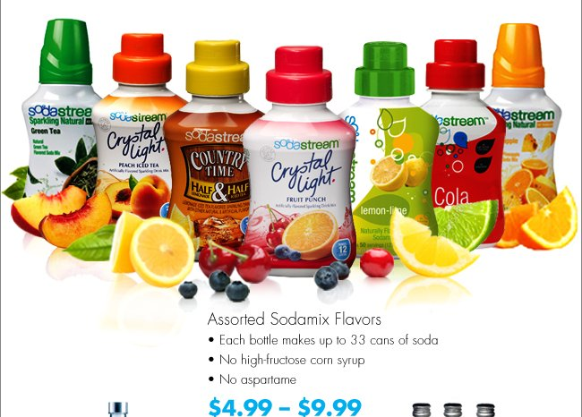 Assorted Sodamix Flavors Each bottle makes up to 33 cans of soda No high-fructose corn syrup No aspartame $4.99-$9.99