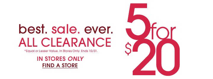5 For $20 Clearance In Stores