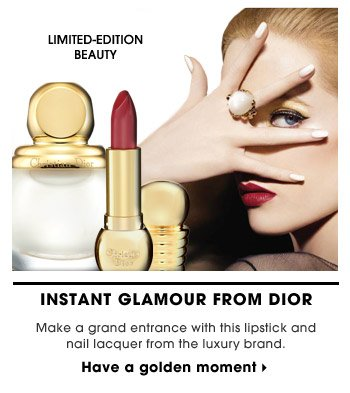 Instant Glamour From Dior | Make a grand entrance with this lipstick and nail lacquer from the luxury brand. | limited-edition beauty | Have a golden moment