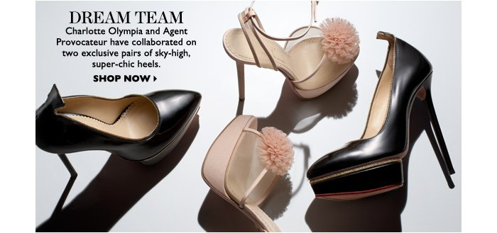 DREAM TEAM – Charlotte Olympia and Agent Provocateur have collaborated on two exclusive pairs of sky–high, super–chic heels. SHOP NOW