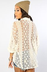 The Sheer Thing Cotton & Lace Dolman Blouse in Vintage White