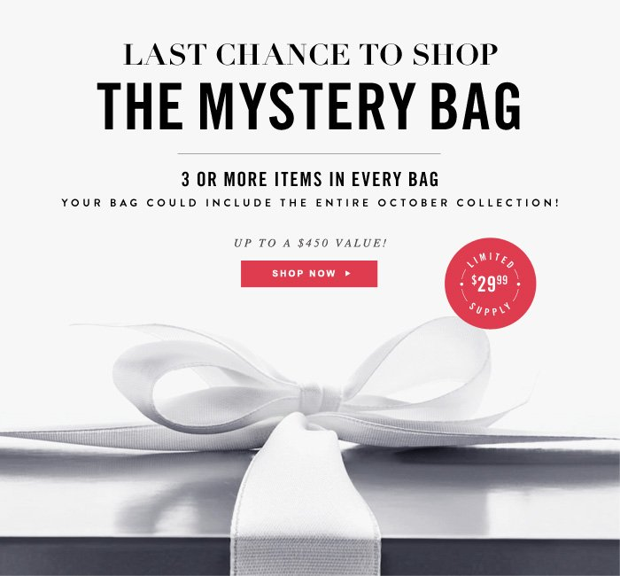 LAST CHANCE The Mystery Bag Returns for Fall - 3 Or More Items In Every Bag