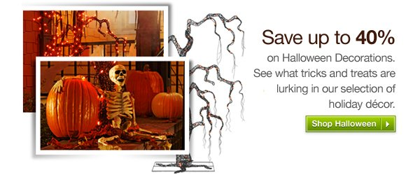 Save up to 40% on Halloween Decorations. See what tricks and treats are lurking in our selection of holiday décor. Shop Halloween »