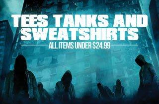 Tees, Tanks and Sweatshirts