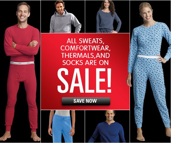 All sweats, loungewear, thermals & socks on sale