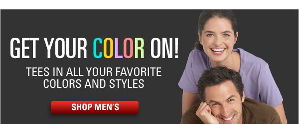 Men's tees in a rainbow of colors