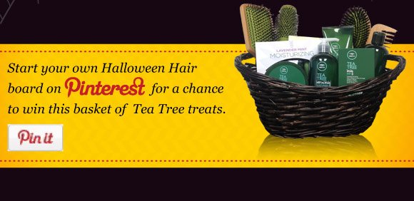 Start your own Halloween Hair board on Pinterest for a chance to win this basket of Tea Tree treats.