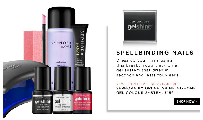 Spellbinding Nails. Dress up your nails using this breakthrough, at-home gel system that dries in seconds and lasts for weeks. new . exclusive . ships for free. SEPHORA by OPI gelshine At-Home Gel Colour System, $159
