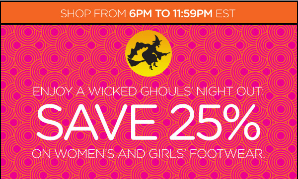 Enjoy A Wicked Ghouls' Night Out: Save 20% On Women's And Girls' Footwear.