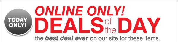 Today Only! Online only! Deals of the Day. The best deal ever on our site for these items.