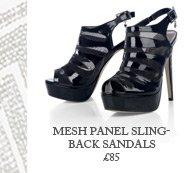 Mesh Panel Slingback Sandals