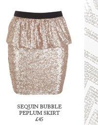 Sequin Bubble Peplum Skirt