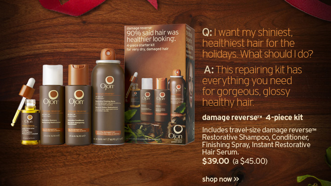 I  want my shiniest healthiest hair for the holidays What should I do This  repairing kit has everything you need for gorgeous glossy healthy hair  damage reverse 4 pc kit includes travel size damage reverse restorative  Shampoo Conditioner Finishing Spray Instant Restorative Hair Serum 39  dollars a 45 dollars value SHOP NOW