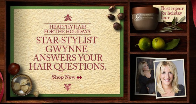 HEALTHY HAIR FOR THE HOLIDAYS STAR STYLIST GWYNNE ANSWERS YOUR HAIR  QUESTIONS SHOP NOW