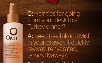 Hair  tips for going from your desk to a Turkey dinner Keep Revitalizing Mist  in your drawer It quickly revives rehydrates tames flyaways Revitalizing  Mist Original 24 dollars SHOP NOW