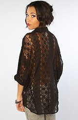 The Sheer Thing Cotton & Lace Dolman Blouse in Black