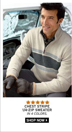 Chest Stripe Quarter-Zip Sweater