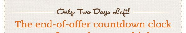 Only Two Days Left! The end-of-offer countdown clock goes faster than you think.