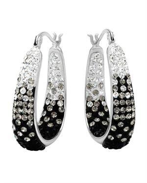 Fuzion Crystal Graduated Black & White Crystal Hoop Earrings $29