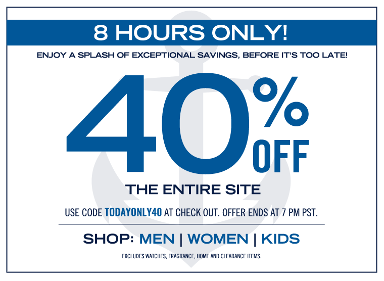 8 HOURS ONLY! 40% OFF SITEWIDE!