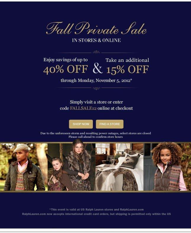 Fall Private Sale