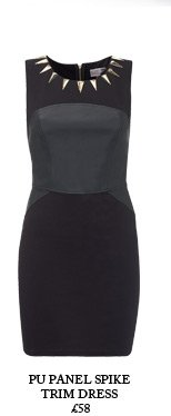 Pu Panel Spike Trim Dress