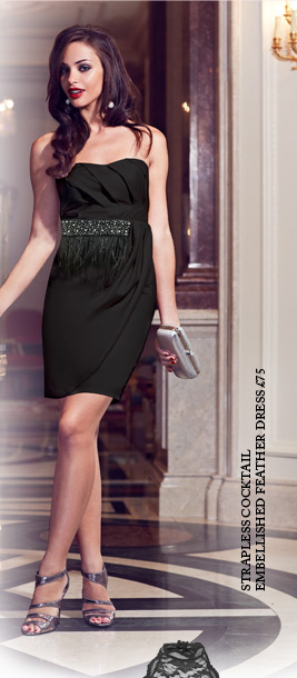 Strapless Cocktail Embellished Feather Dress