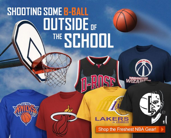Shooting Some B-Ball Outside of The School. Shop the Freshest NBA Gear.