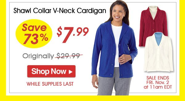 Shawl Collar V-Neck Cardigan - Save 73% - Now Only $7.99 Limited Time Offer