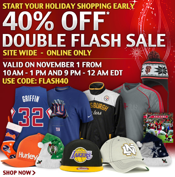 Start you holiday shopping early with the 40% off double flash sale.