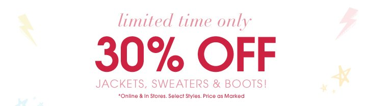 30% Off Jackets, Sweaters And Boots