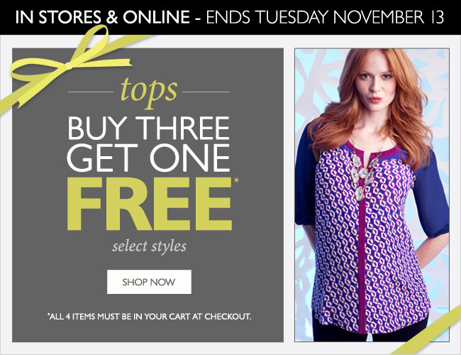 Select Tops: Buy Three Get One FREE