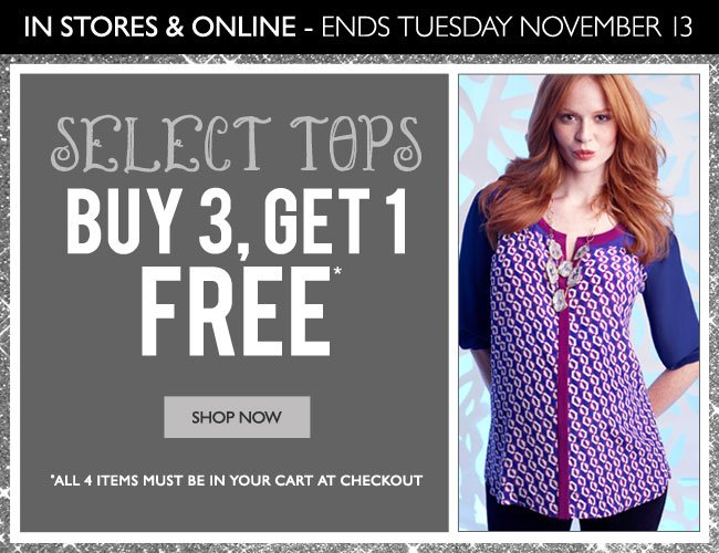 Select Tops: Buy 3, Get 1 FREE