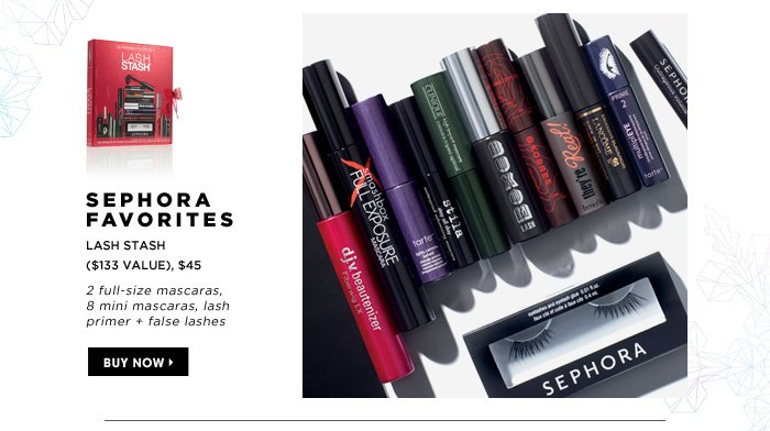 2 full-size mascaras, 8 mini mascaras, lash primer + false lashes. SEPHORA FAVORITES Lash Stash ($133 Value), $45. Buy now