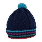 Paul Smith Hats - Navy Cable Knit Striped Beanie Hat