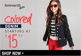 Forever 21 Girls: Colored Denim Starting at $15.90 - Shop Now