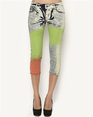 F&J Funky Jeans Wear Four-Color Printed Capris $55
