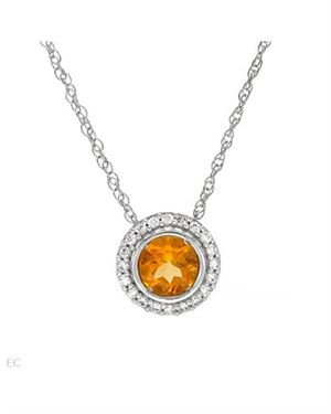 Ladies Citrine Necklace Designed In 925 Sterling Silver $15