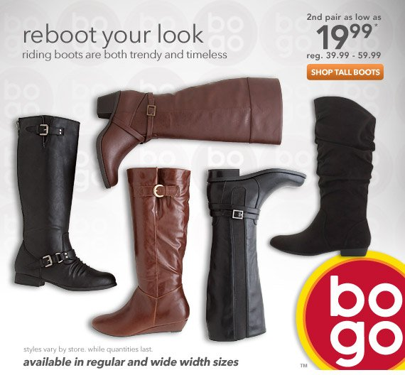 Riding boots are both trendy and timeless and are available in both regular and wide with sizes.